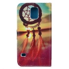 IKKI Chinese Knoop Style PU Leather Full Body Case w / Stand voor Samsung Galaxy S5 - Geel + Blauw