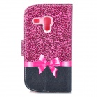 IKKI Patterned PU Leather Full Body Case w/ Stand for Samsung Galaxy S3 Mini i8190 - Black + Purple