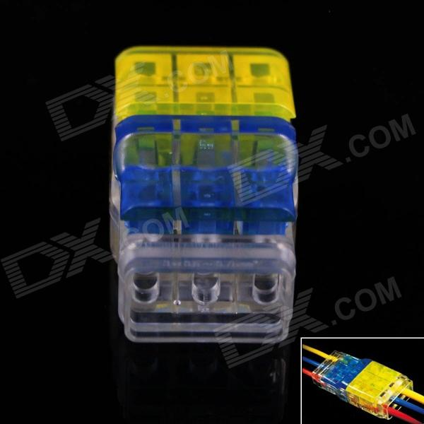 3-to-3 Free Skinned Electric Wire Cable Quick Joint / Connector - Yellow + Transparent + Blue (5pcs)