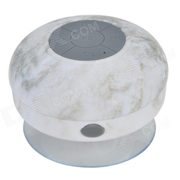 Waterproof Bluetooth V3.0 Bathroom Speaker w/ Microphone + Suction Cup - White + GreyBluetooth Speakers<br>Form  ColorWhite + GreyMaterialABSQuantity1 DX.PCM.Model.AttributeModel.UnitShade Of ColorWhiteBluetooth HandsfreeYesBluetooth VersionBluetooth V3.0Operating Range10mTotal Power3 DX.PCM.Model.AttributeModel.UnitMicrophoneYesSNR&gt;=75dBFrequency Response100Hz~20KHzImpedance4 DX.PCM.Model.AttributeModel.UnitApplicable ProductsPS3,IPHONE 5,IPHONE 4,IPHONE 4S,IPHONE 3G,IPHONE 3GS,IPOD,IPAD,IPHONE 5S,IPHONE 5CRadio TunerNoBuilt-in Battery Capacity 400 DX.PCM.Model.AttributeModel.UnitBattery TypeLi-ion batteryTalk Time5~6 DX.PCM.Model.AttributeModel.UnitStandby Time150 DX.PCM.Model.AttributeModel.UnitMusic Play Time5~6hPacking List1 x Bluetooth speaker 1 x USB charger cable (100cm)1 x English user manual<br>