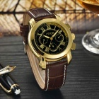 MCE Water Resistant Multifunction PU Band Analog Mechanical Wrist Watch - Golden + Brown