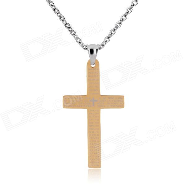 KCCHSTAR Cross Style 316L Stainless Steel Pendant Necklace - Golden + Silver