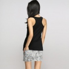 Catwalk88 Women's Summer Casual Cotton Racer Back Vest Top - Black (L)