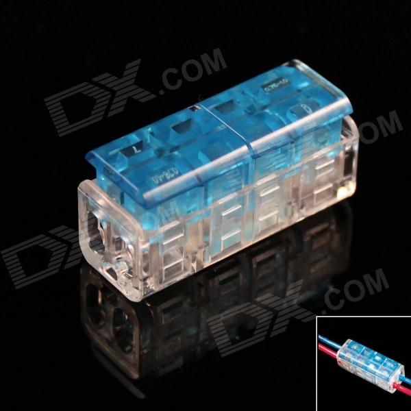 DIY 2-to-2 Skinned Free Electric Wire Cable Quick Joint / Connector - Blue + Transparent (5PCS)
