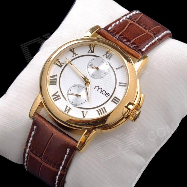 mce Men's Fashion PU Band Analog Mechanical Wrist Watch - Golden + White