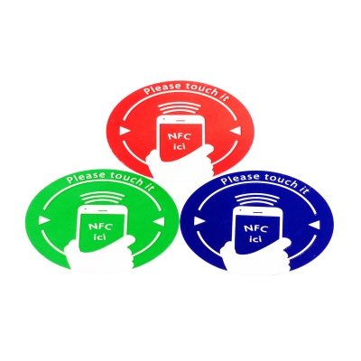NXP Ntag216 888 Bytes NFC Tags Stickers - Red + Green + Blue (3PCS)