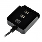 Universal Mini 2-Port USB Charging Station w/ Switch - Black (US Plugs / 100~240V)