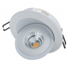 YouOKLight 8W 505lm 3500K 1-COB LED Warm White Rotatable Embedded Ceiling Lamp - White (AC 100~240V)