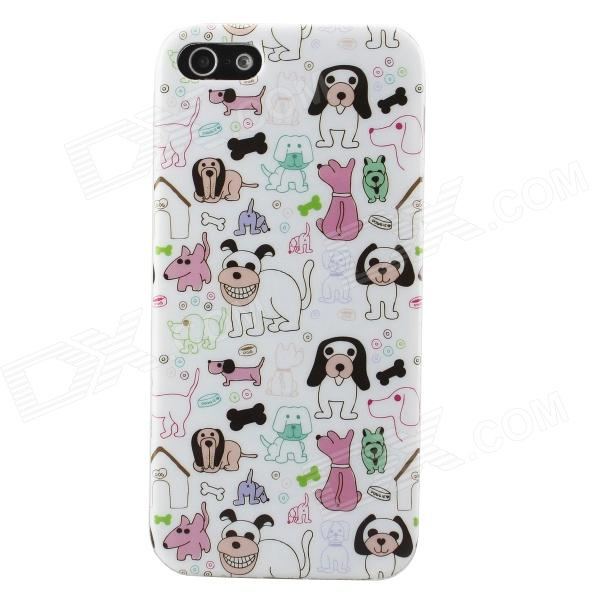 Cartoon Dogs Pattern Protective TPU Back Case for IPHONE 5 / 5s - White + Multicolored