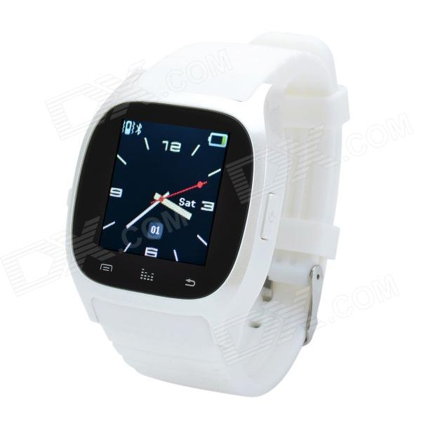 CHEERLINK M26 1.47 Touch Screen Bluetooth V3.0 Smart Phone Watch w/ SMS / Alarm / Pedometer - WhiteSmart Watches<br>Form  ColorWhiteBrandCHEERLINKModelM26MaterialSilicone + electronic componentsQuantity1 DX.PCM.Model.AttributeModel.UnitShade Of ColorWhiteBluetooth VersionBluetooth V3.0Operating Range10mStandby Time190 DX.PCM.Model.AttributeModel.UnitApplicable ProductsIPHONE 5,IPHONE 4,IPHONE 4S,IPHONE 3G,IPHONE 3GS,IPAD,Others,Android phonesBattery TypeLi-polymer batteryBuilt-in Battery Capacity 230 DX.PCM.Model.AttributeModel.UnitPower AdapterOthers,USBOther FeaturesLanguage: English, French, German, Japanese, Korean and Spanish; Universal features: hands-free calls, instant message remind, pedometer, music, burglar alarm, music, altitude meter, stopwatch, remote photo shooting and so on; Supported by Andriod phone: sync Facebook / SMS / QQ and more.CPU ProcessorN/ACompatible OSN/AWater-proofOthers,N/APacking List1 x Bluetooth watch1 x Data cable (74cm)1 x English / Chinese user manual<br>