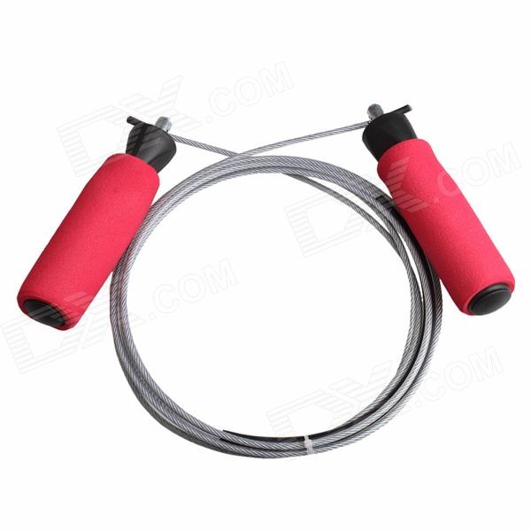 ZIQIAO T-223 Exercise Fitness Sponge Handle Steel Wire Jumping Skipping Rope - Red + Silver (2.8m)