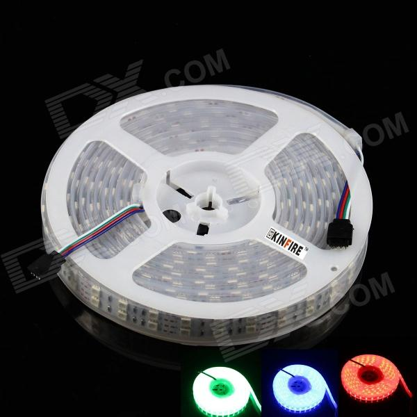 KINFIRE R-50 144W 5500lm 600-SMD 5050 LED RGB Light Strip - White (DC 12V / 5M)5050 SMD Strips<br>Form  ColorWhiteColor BINRGBBrandKINFIREModelR-50MaterialWaterproof gum cover + copper + 5050 SMDQuantity1 DX.PCM.Model.AttributeModel.UnitPowerOthers,144WRated VoltageDC 12 DX.PCM.Model.AttributeModel.UnitChip BrandEpistarEmitter Type5050 SMD LEDTotal Emitters600Color TemperatureNoWavelengthRed: 635nm; Blue: 465~475nm; Green: 515~520nmTheoretical Lumens5800 DX.PCM.Model.AttributeModel.UnitActual Lumens5500 DX.PCM.Model.AttributeModel.UnitPower AdapterOthers,Outside wiringPacking List1 x LED light strip  (500cm)<br>