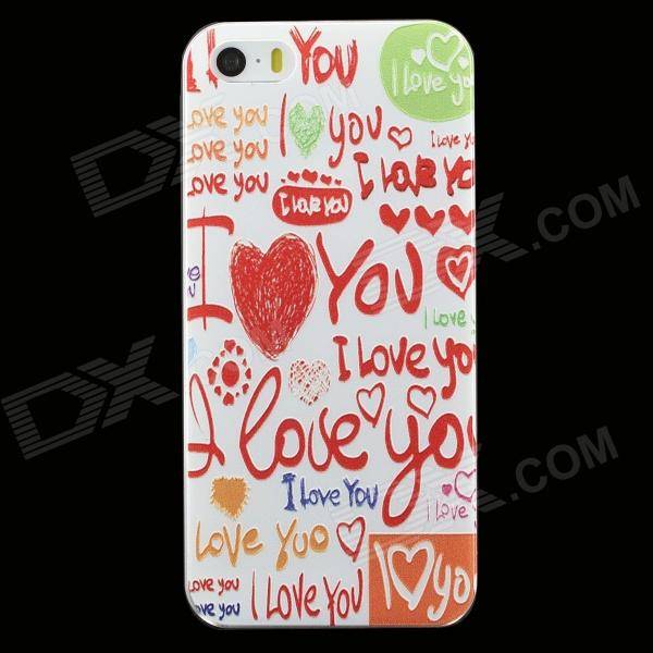 Graffiti Pattern Protective Plastic Back Case for IPHONE 5 / 5S - White + Red + Multi-Color