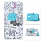 Flip-open PU Leather + TPU Case w/ Stand / Card Slots for Samsung Galaxy S5 Mini - White + Black