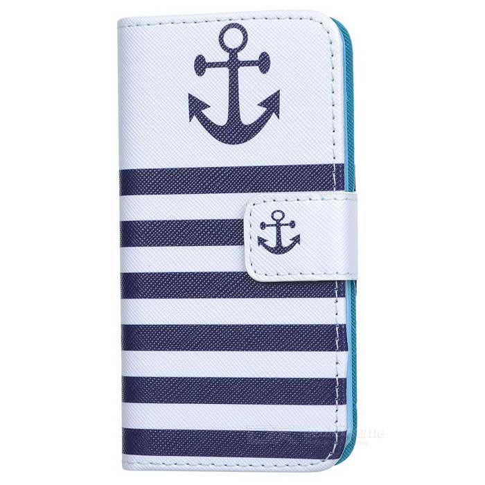 Striped Flip-open PU Leather Case w/ Stand / Card Slots for IPHONE 5 / 5S - White + BlueLeather Cases<br>Form ColorWhite + Blue + Multi-ColoredQuantity1 DX.PCM.Model.AttributeModel.UnitMaterialPU leatherShade Of ColorWhiteCompatible ModelsIPHONE 5S,IPHONE 5StyleFull Body CasesDesignMixed Color,Graphic,With Stand,Card SlotAuto Wake-up / SleepNoPacking List1 x Protective case<br>