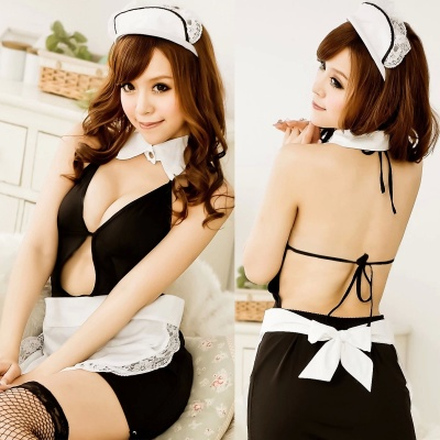 Women's Luring Sexy Maid Style Backless Cosplay Sleep Dress Lingerie Set - Black