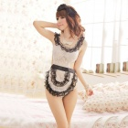 Women's Luring Sexy Maid Style See-though Cosplay Sleep Dress Lingerie Set - White + Black