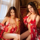 Women's Fashionable Sexy Kimono Style Cosplay Role Play Sleep Dress Set - Red