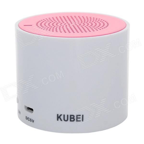 KUBEI 300A Portable Wireless Bluetooth V3.0 Speaker w/ Micro USB - White + Light Pink