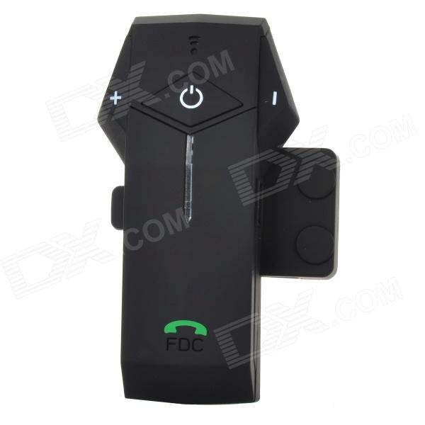 FDC-1000 Helmet Handsfree Phone Call Bluetooth Intercom Kit for Motorcycle - BlackMotorcycle Interphone<br>Form ColorBlackBrandN/AModelFDC-1000Quantity1 DX.PCM.Model.AttributeModel.UnitMaterialABSTypeInterphoneApplicationOthers,HelmetBluetooth VersionBluetooth V2.1Transmit Distance10 DX.PCM.Model.AttributeModel.UnitTuner BandsN/AOutput Frequency Range85-108 DX.PCM.Model.AttributeModel.UnitIntercom FunctionYesIntercom Effective Distance1000 DX.PCM.Model.AttributeModel.UnitTalk Time15 DX.PCM.Model.AttributeModel.UnitStandby Time150 DX.PCM.Model.AttributeModel.UnitSpeaker Power0.25 DX.PCM.Model.AttributeModel.UnitRemote Control DistanceN/A DX.PCM.Model.AttributeModel.UnitPower Supply100~240VWorking Current5V 500 DX.PCM.Model.AttributeModel.UnitWaterproof FunctionYesInterface1 x mini USBExpansion Card  Capacity (Max.)Not supportedInstallation MethodInstall the clip on the left side of the helmet; fix the BIM on to the clip.Other Features1000m connecting distance for two riders; daily water resistant; auto change between phone call and intercom; it can pair with cellphone, GPS and other stereo devices at the same time; supports monitoring phone calls on it, redial last contacted number; can play audio files from GPS, SBC, MP3. With play / pause, next / previous, stop key; good echo / noise delimination. How to use: connect the earphone to the intercom and press the power switch till red / blue LED flashes; click the power button on either one of the earphone to activate pairing (blue LED flashes)Packing List1 x Bluetooth receiver1 x Speaker / microphone (50cm)1 x Mini USB cable (95cm)4 x Velcro tapes2 x Fasteners1 x Screwdriver1 x 100~240V EU plug charger1 x English manual<br>