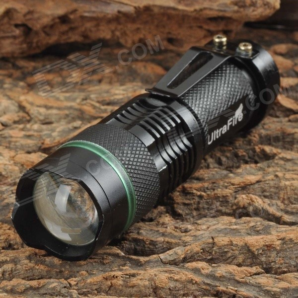 UltraFire Luminus 3W LED 100lm 3-Mode White Zooming Flashlight - Black + Green (1 x 14500 / AA)