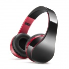 NX-8252 Portable Folding Bluetooth V3.0 Headphones w/ Mic - Red + Black
