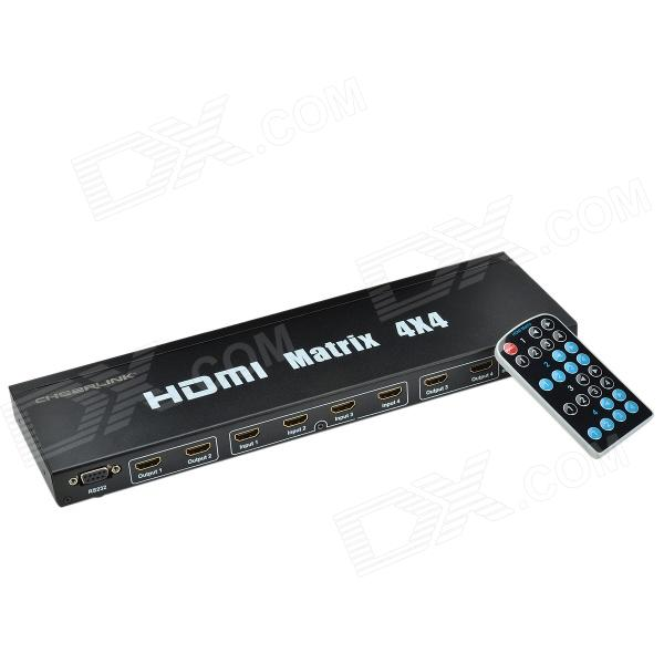 CHEERLINK HDMX4x4 4-In 4-Out Router Type HDMI V1.4 Matrix with EU Plug - Black