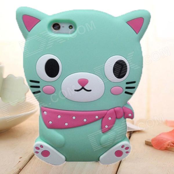 ZIQIAO Cute Cartoon Cat Style Protective Soft Silicone Back Case for IPHONE 4 / 4S - Mint Green