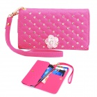 Elonbo J6V12 Pearl + Roses Leather Full Body Case Wallet for Samsung Galaxy S3 / S4 - Deep Pink