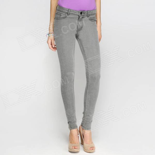 Catwalk88 Brand New Women's Spring Summer Slim Denim Pencil Trousers - Grey (Size 28)