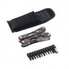 22-in-1 Stainless Steel Multi-Function Pocket Toolkit Foldable Pliers w/ Carrying Pouch - Black