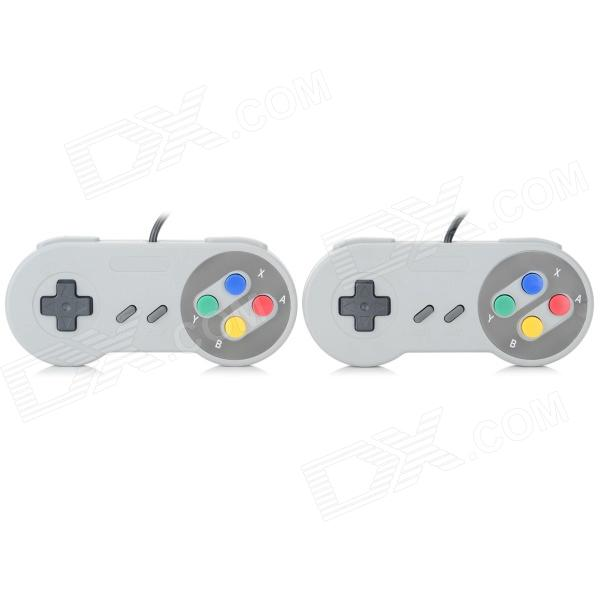 Wired Game Controller for SFC / SNES Console - Black + Grey (2PCS)Remote &amp; Controllers <br>Form  ColorBlack + Grey + Multi-ColoredBrandN/AModelN/AQuantity2 DX.PCM.Model.AttributeModel.UnitMaterialABSCompatible ModelsOthers,SFC &amp; SNESConnectionWiredBluetooth VersionNoOperating RangeNo DX.PCM.Model.AttributeModel.UnitCable Length140 DX.PCM.Model.AttributeModel.UnitConnectorSNES interfaceOther FeaturesWith one direction key and 8 functional keys: A ,B X, Y, L, R, choose, start.Packing List2 x Game controllers<br>