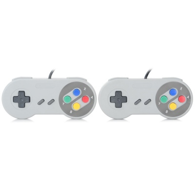 Wired Game Controller for SFC / SNES Console - Black + Grey (2PCS)