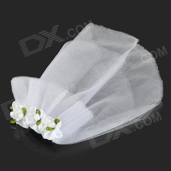 Buy Bridal Veil for Pet Cat / Dog - White + Green (Size S) with Litecoins with Free Shipping on Gipsybee.com