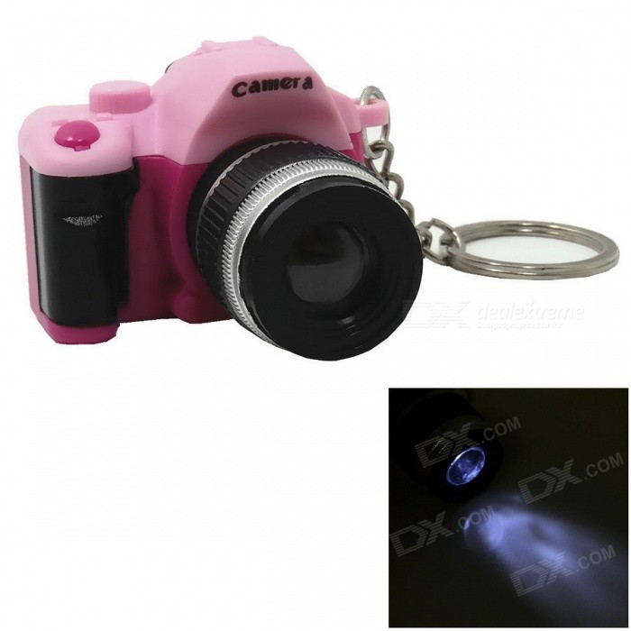Camera Style LED  Flashlight Keychain w/ Sound  (3 x AG10)