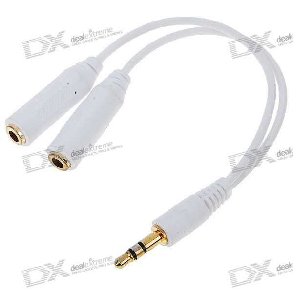 Gold Plated 3.5mm M-F Stereo Audio Jack Splitter Y-Cable -White (17cm)