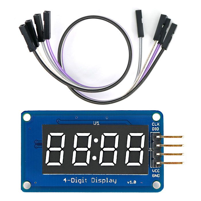 "Dx coupon: 0.36"" LED 4-Digit Display Module w/ Clock Point / 4-Pin Dupont Line for Arduino ( 20cm )"