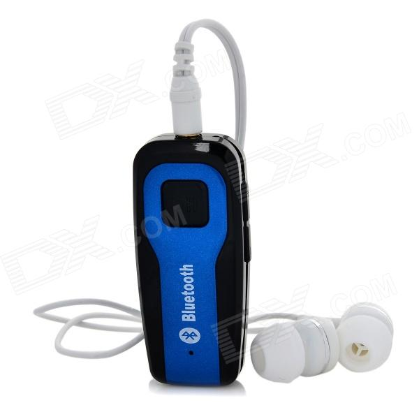 Bluetooth V4.0 Headset Music Receiver w/ Earphone - Black + Blue