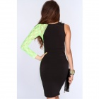 Fashionable Sexy Oblique Shoulder Slim Tight Dress - Black + Green (M)