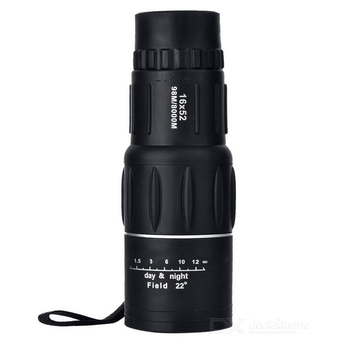 52mm 16X Ultra-clear Dual Adjustable Monocular Telescope - Black