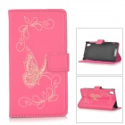Butterfly Patterned Flip-Open PU Leather Case for Sony L39h / Xperia Z1 / Xperia i1 - Deep Pink