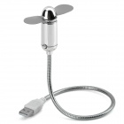 Bullet Shaped Flexible Neck USB 2.0 2-Blade Fan - Silver