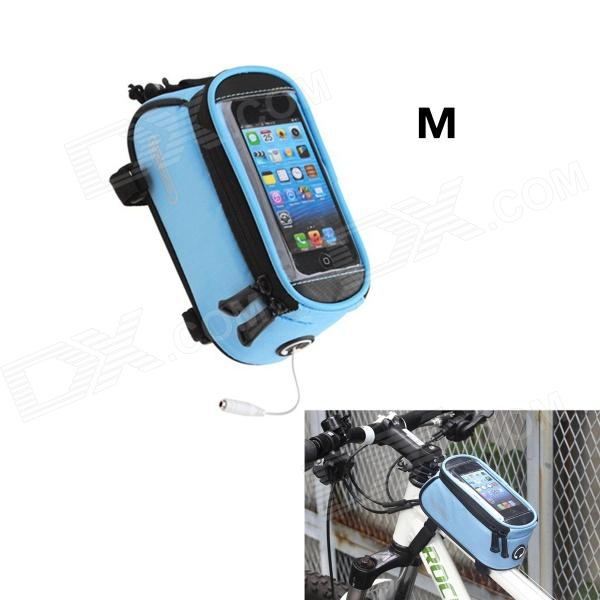 Roswheel Universal Touch Screen Top Tube Saddle Bag w/ Earphone Hole for Cell Phone - Blue (M)Bike Accessories<br>Form  ColorBlueBrandROSWHEELModel12496M-CB5Quantity1 DX.PCM.Model.AttributeModel.UnitMaterial600D polyester + PU + matte leather + transparent PVCGenderUnisexBest UseCycling,Mountain Cycling,Recreational Cycling,Road Cycling,Bike commuting &amp; touringCapacity1.2 DX.PCM.Model.AttributeModel.UnitTypeOthers,Saddle BagPacking List1 x Bag1 x Data cable (28cm)<br>