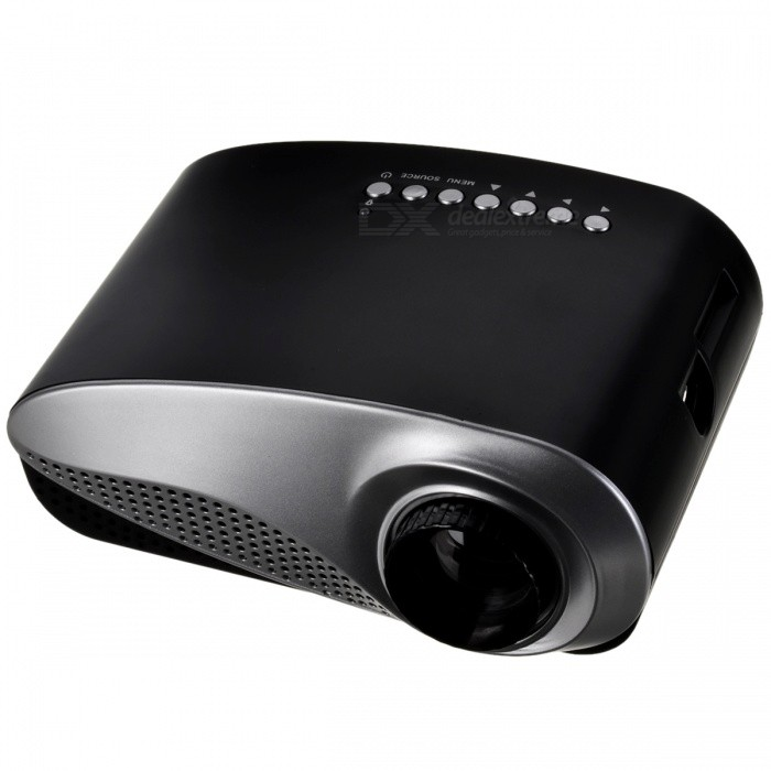 24W LCD High Definition Home Mini Projector w/ HDMI / US Plug - BlackProjectors<br>Form  ColorBlackPower AdapterUS PlugModelRD-802MaterialABS + PCQuantity1 DX.PCM.Model.AttributeModel.UnitShade Of ColorBlackOperating SystemNoTypeLCDBrightnessOthers,60Menu LanguageEnglish,French,Spanish,Portuguese,Chinese SimplifiedLife Span20000 DX.PCM.Model.AttributeModel.UnitBuilt-in SpeakersYesEmitter BINOthers,LEDDisplay Size20 to 100 inchesAspect RatioOthers,16: 9 &amp; 4: 3Contrast Ratio1000: 1Native Resolution480 x 320Maximum Resolution1080PThrow Distance1~3.5mBuilt-in Memory / RAMNoStorageNoAudio FormatsMP3,WMA,APEVideo FormatsRM,RMVB,AVI,FLV,MPEG4,WMVPicture FormatsJPEG,BMP,PNG,TIFFInput Connectors1 x HDMI / 1 x VGA / 1 x AV / 1 x USB / 1 x SD / 1 x TVOutput Connectors1 x 3.5mm headset jackInput Video CompatibilityAnalog RGBPower Consumption24WPower Supply12V / 2ACertificationCE RoHS FCCOther Features- Brightness: 60 lumen<br>- Image Flip: 360 degree flip<br>- Lens: 3 pieces of glass lens, manual focus<br>- Picture Zoom: Electrical zoom by remote<br>- Noise:BrandOthers,-BrightnessUnder 1000 lumensBrightness60 DX.PCM.Model.AttributeModel.UnitMaximum Resolution1080PInput ConnectorsAV,VGA,HDMIPower Consumption20~39WPacking List1 x Projector1 x power adapter (100~240V / 2-flat-pin plug / 130cm)1 x Remote controller (2 x AAA Battery, not included)1 x AV cable (20cm)<br>