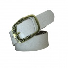 N79 Women's Genuine Leather Vintage Flower Carved Pin Buckle Belt - White