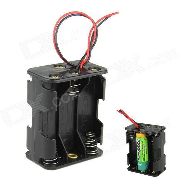 DIY 9V 6-Slot / 6 x AA Battery Double Deck / Back to Back Holder Case Box w/ Leads - Black