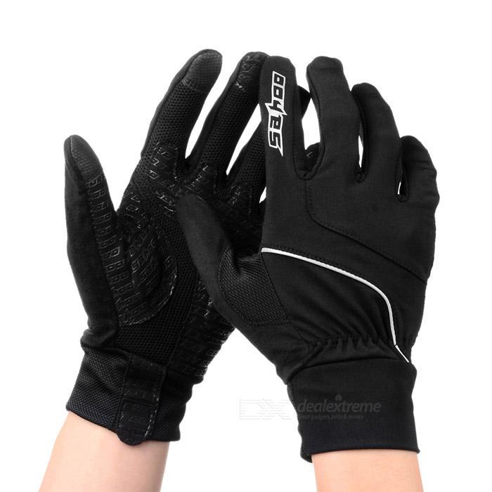 SAHOO 42890 Unisex Cycling Riding Warm Full Fingers Touch Screen Gloves Black + Red