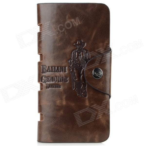 Buy Men's Casual Style Split Leather Long Wallet w/ Card Slots / Photo Slot - Coffee with Litecoins with Free Shipping on Gipsybee.com