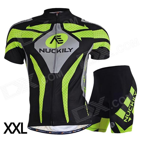 NUCKILY MA005MB005 Men's Cycling Short Sleeves Jersey Clothes + Pants Set - Green + Black (XXL) for sale in Bitcoin, Litecoin, Ethereum, Bitcoin Cash with the best price and Free Shipping on Gipsybee.com
