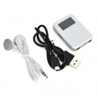 "ABS + Stainless Steel 1.0"" TFT MP3 Player w/ TF / FM - White + Silver"